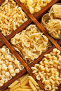 Pasta mix in compartment wooden box Royalty Free Stock Photos