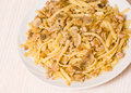 Pasta with mushroom and minced meat Royalty Free Stock Photo