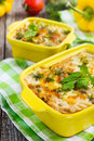 Pasta mushrooms and cheese gratin in casserole dish Stock Photography