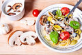 Pasta with mushrooms sauce Stock Images