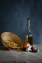 Pasta oil pepper onion eggs composition with garlic and olive Royalty Free Stock Photos