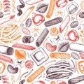 Vector background with traditional Italian pasta sketch. Vintage seamless pattern with hand drawn food illustrations. Cafe or re