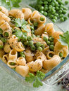 Pasta with peas Stock Photography