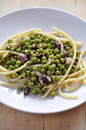 Pasta with Peas and Ham Stock Photo