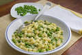 Pasta and peas in a plate Stock Image