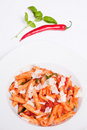 Pasta Penne with pecorino cheese and chili Stock Photography