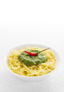 Pasta with pesto portion of spicy green Royalty Free Stock Image