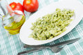 Pasta with pesto sauce Royalty Free Stock Photos