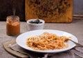 Pasta with pesto sauce Royalty Free Stock Photo