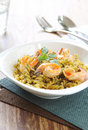 Pasta with pesto sauce and prawn Royalty Free Stock Photos