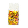 Pasta in a plastic bag fiori flower shaped four colours Royalty Free Stock Photos