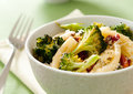 Pasta primavera closeup of with roasted broccoli and sun dried tomatoes Stock Photos