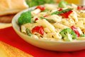 Pasta primavera vegetarian with fresh vegetables Stock Image