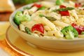 Pasta primavera vegetarian with fresh vegetables Royalty Free Stock Photos