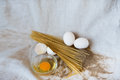 Pasta with raw and whole eggs and flour meal cooking process wheat Royalty Free Stock Photo