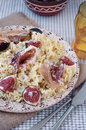 Pasta ribbons with ham and figs sliced thinly sliced prosciutto parmesan cheese Royalty Free Stock Photo