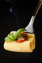 Pasta rigatoni with ragã  parmesan and basil on fork black background Royalty Free Stock Images