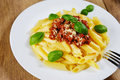 Pasta rigatoni on the white plate Stock Photography