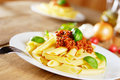 Pasta rigatoni on the white plate Royalty Free Stock Photography