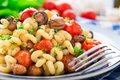 Pasta with roasted mushrooms and cherry tomatoes on a plate Royalty Free Stock Photo