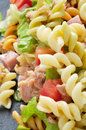 Pasta salad closeup of a refreshing on a slate background Stock Photo