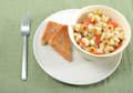 Pasta salad and garlic bread Stock Image
