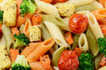 Pasta salad made penne vegetables Stock Photo