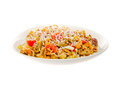 Pasta salad with olive oil pesto sauce and spices Stock Photography