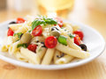 Pasta salad shot with selective focus Royalty Free Stock Photos