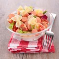Pasta salad and small sausages bowl of Royalty Free Stock Photo