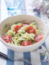 Pasta salad with tomato and sauce selective focus Stock Images