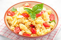 Pasta salad with tomatoes, olives, mozzarella and basil italy Royalty Free Stock Photo