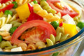 Pasta Salad with Vegetables and Cheese Stock Image