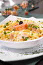 Pasta with salmon wild in a cream sauce served linguini selective focus Stock Photography
