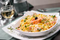 Pasta with salmon wild in a cream sauce served linguini selective focus Stock Images