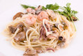 Pasta with seafood Royalty Free Stock Image