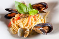 Pasta with seafood mussels Royalty Free Stock Photos