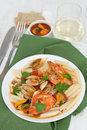 Pasta with seafood on the plate Royalty Free Stock Photography