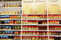 Pasta selection of for sale in a supermarket Royalty Free Stock Images