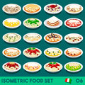 Pasta set food isometric complete collection new lively palette d flat vector icon of italian menu italian salad recipes carbonara Royalty Free Stock Image