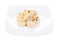 Pasta shells on stuffed with mushrooms isolated a white background Royalty Free Stock Images