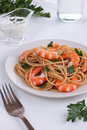 Pasta with shrimps Royalty Free Stock Photography