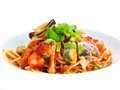 Pasta with shrimps, herbs and mashrooms