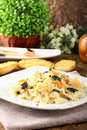 Pasta with smoked salmon and caviar Stock Photos