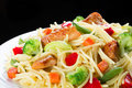 Pasta. Spaghetti with meat and vegetables. Royalty Free Stock Photo