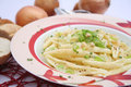 Pasta with spring onions some fresh Stock Images