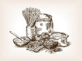 Pasta still life sketch style vector illustration