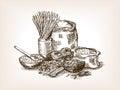Pasta still life sketch style vector illustration Royalty Free Stock Photo