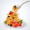 Pasta with tomato and meat sauce on a plate Stock Photos