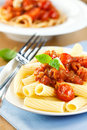 Pasta with tomato sauce and basil Stock Image